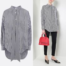 BALENCIAGA Stripes Casual Style Long Sleeves Cotton Oversized
