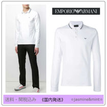EMPORIO ARMANI Long Sleeves Plain Cotton Polos