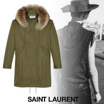 Saint Laurent Street Style Plain Long Parkas