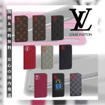 Louis Vuitton Unisex Plain Leather Smart Phone Cases
