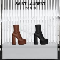 Saint Laurent Plain Leather High Heel Boots