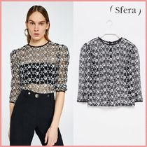 Sfera Flower Patterns Dots Casual Style Short Sleeves Lace