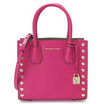 Michael Kors MERCER 2WAY Plain Leather Party Style Totes