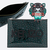 KENZO Leopard Patterns PVC Clothing Clutches