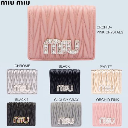 Plain With Jewels Folding Wallets