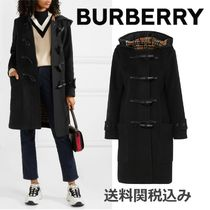 Burberry Wool Blended Fabrics Plain Long Elegant Style Duffle Coats