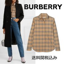 Burberry Other Check Patterns Long Sleeves Cotton Elegant Style