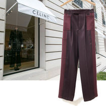 CELINE Stripes Wool Plain Long Elegant Style Bold Pants