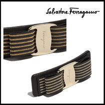 Salvatore Ferragamo Barettes Chain Leather Brass Elegant Style Clips