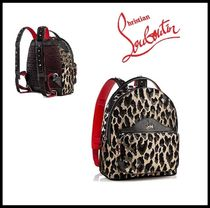 Christian Louboutin Leopard Patterns Studded Street Style Leather Backpacks