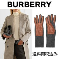 Burberry Blended Fabrics Plain Leather Leather & Faux Leather Gloves