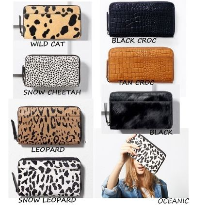 Leopard Patterns Other Animal Patterns Leather Long Wallets