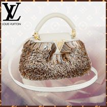 Louis Vuitton CAPUCINES Blended Fabrics 2WAY Bi-color Leather Fringes With Jewels