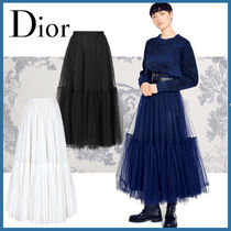 Christian Dior Flared Skirts Long Lace Elegant Style Maxi Skirts