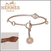 HERMES Blended Fabrics Initial Chain With Jewels Elegant Style