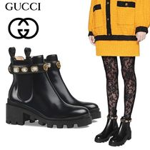 GUCCI Platform Plain Leather Ankle & Booties Boots