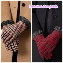 Hobbs London Tartan Leather Leather & Faux Leather Gloves
