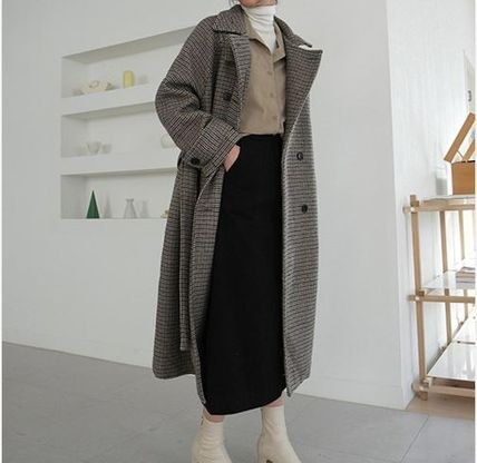 Other Check Patterns Wool Long Elegant Style Wrap Coats
