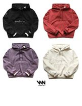 WV PROJECT Unisex Street Style Long Sleeves Plain Oversized Hoodies
