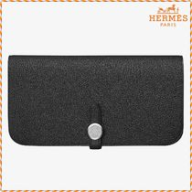 HERMES Blended Fabrics Plain Leather Long Wallets