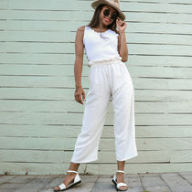 Q HEARTsexy&cute Casual Style Linen Street Style Plain Long Wide Leg Pants