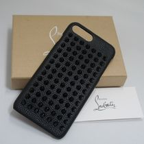 Christian Louboutin Unisex Studded Plain Leather Smart Phone Cases