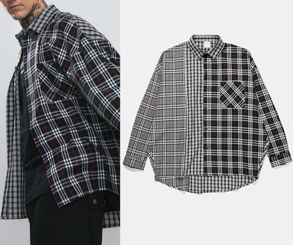 Button-down Gingham Other Check Patterns Unisex Street Style