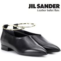 Jil Sander Blended Fabrics Plain Leather Block Heels Office Style