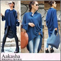 Aakasha V-Neck Long Sleeves Plain Medium Handmade Oversized Tunics
