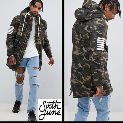 Camouflage Street Style Long Parkas