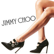 Jimmy Choo Dots Velvet Pin Heels Elegant Style Ankle & Booties Boots