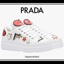 PRADA Heart Rubber Sole Lace-up Casual Style Studded Plain Leather