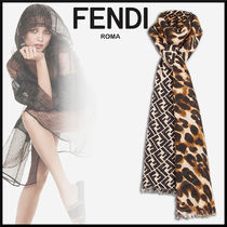 FENDI Monogram Leopard Patterns Cashmere Elegant Style Accessories