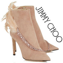 Jimmy Choo Suede Studded Plain Pin Heels With Jewels Elegant Style