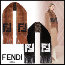 FENDI Monogram Fringes Heavy Scarves & Shawls