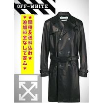 Off-White Unisex Street Style Leather Long Chester Coats