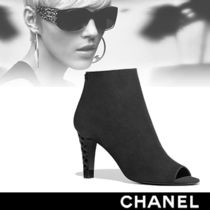 CHANEL Open Toe Suede High Heel Boots