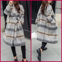 Other Check Patterns Casual Style Wool Long Peacoats
