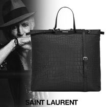 Saint Laurent A4 Plain Other Animal Patterns Leather Totes