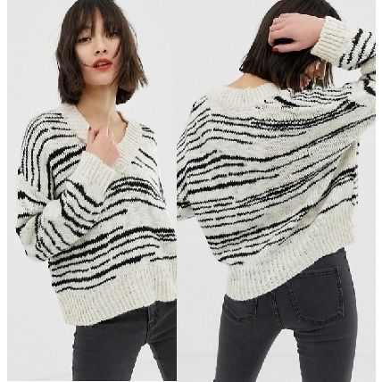 Stripes Casual Style V-Neck Long Sleeves Medium Oversized