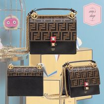 FENDI KAN I Monogram Chain Plain Leather Elegant Style Shoulder Bags