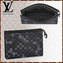 Louis Vuitton DAMIER GRAPHITE Other Check Patterns Leather Clutches