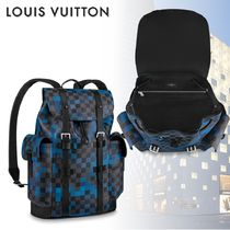 Louis Vuitton CHRISTOPHER Other Check Patterns Monogram Canvas Blended Fabrics A4
