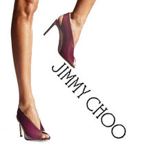 Jimmy Choo Open Toe Plain Leather Elegant Style Ankle & Booties Boots