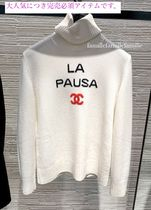 CHANEL Cashmere Long Sleeves Elegant Style Cashmere