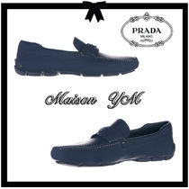 PRADA Moccasin Plain Leather Loafers & Slip-ons