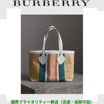 Burberry Stripes Unisex Blended Fabrics A4 Oversized Totes