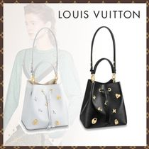 Louis Vuitton NEONOE Studded 2WAY Plain Leather Handbags