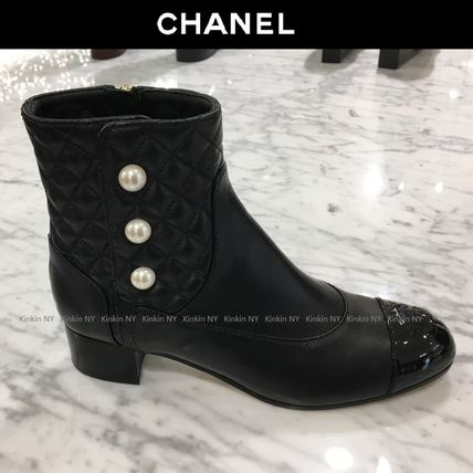CHANEL Ankle & Booties Round Toe Plain Leather Block Heels Elegant Style