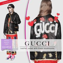 GUCCI Short Plain Leather Oversized Biker Jackets